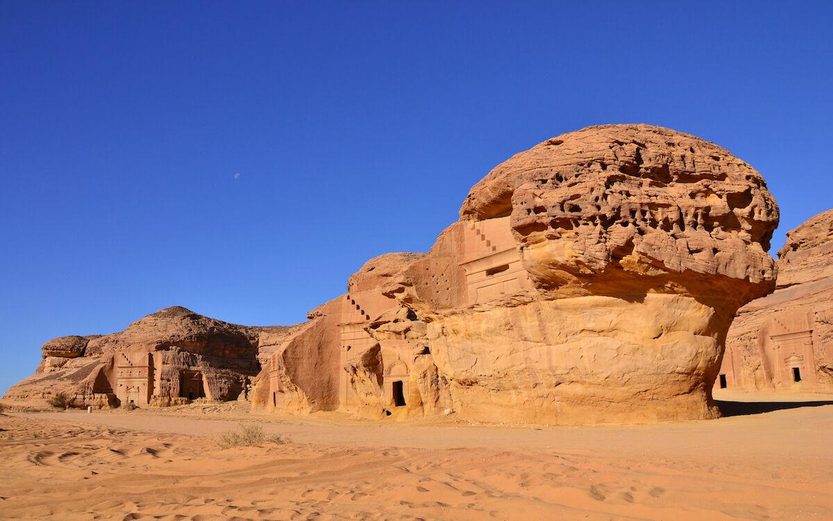 Mada'in Saleh in the Al-Ula region of northwestern Saudi Arabia. Photo by Sammy Six, via Wikimedia Commons.
