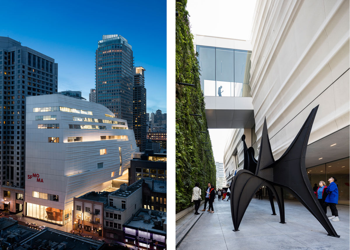 Left: Snøhetta expansion of the new SFMOMA, opening May 14, 2016. Photo © Henrik Kam, courtesy of SFMOMA; Right: Pat and Bill Wilson Sculpture Terrace, featuring Alexander Calder sculpture and the living wall, designed by Habitat Horticulture, at SFMOMA. Photo © Henrik Kam, courtesy of SFMOMA.