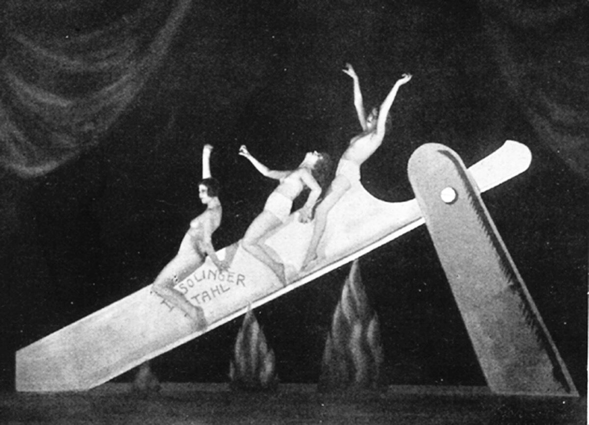 "Unknown photographer, ""Slide on the Razor"" performance as part of the Haller Revue Under and Over, Berlin, 1923. Courtesy of Feral House."