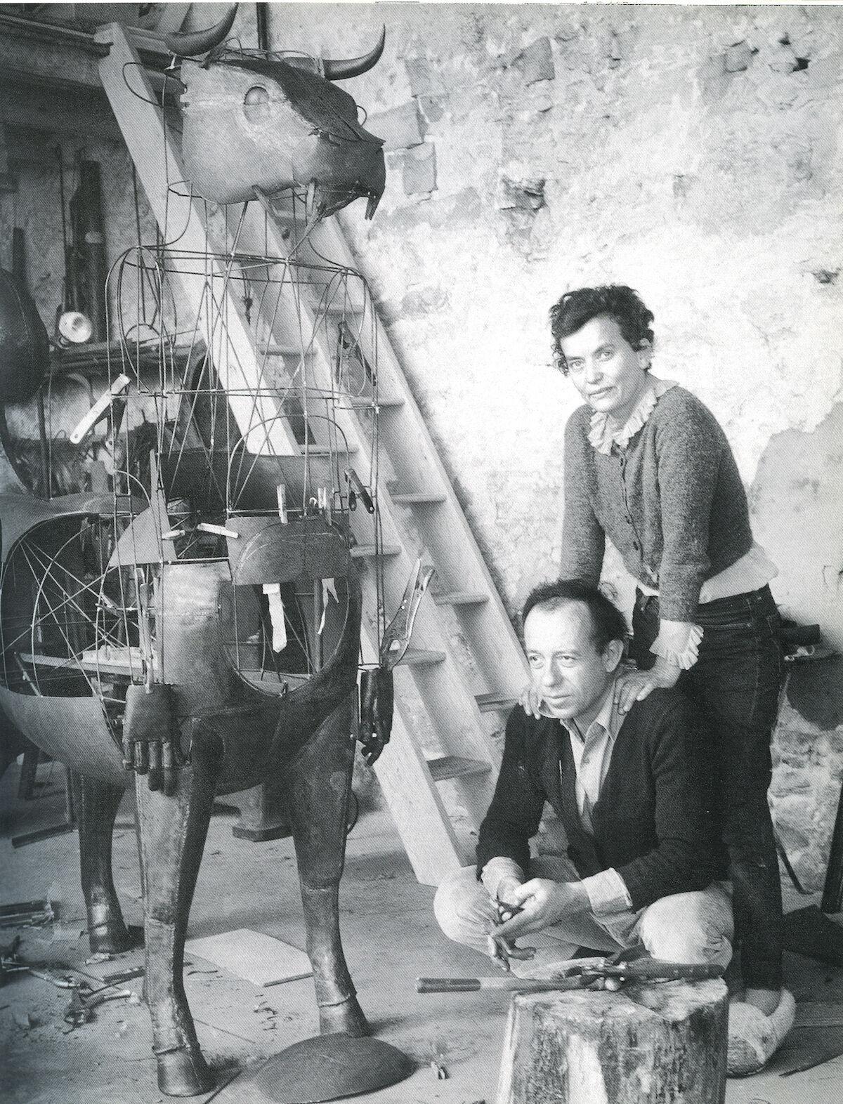 Claude et François-Xavier Lalanne in their studio in Ury, 1970. © Claude Lalanne. Courtesy of Ben Brown Fine Arts.