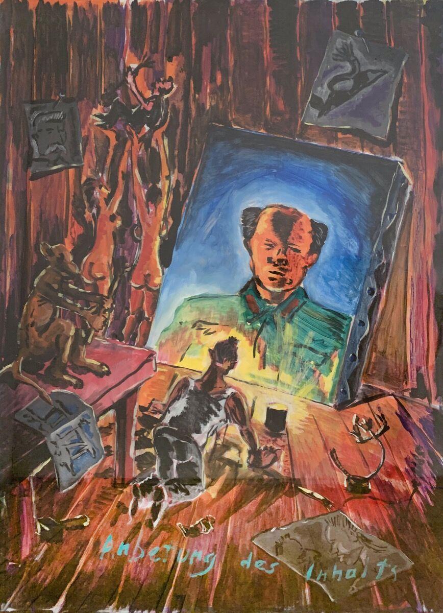 Jörg Immendorff, Anbetung des inhalts, c. 1985. Courtesy of Eric Fischl, April Gornik, and the New York Academy of Art.