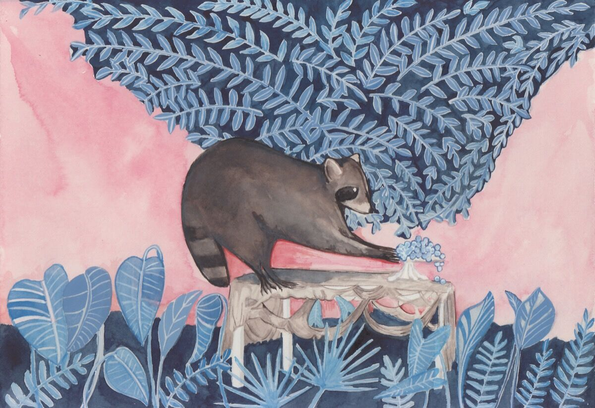 Dana Sherwood, Raccoon upon a Table, 2017. Courtesy of Denny Gallery.