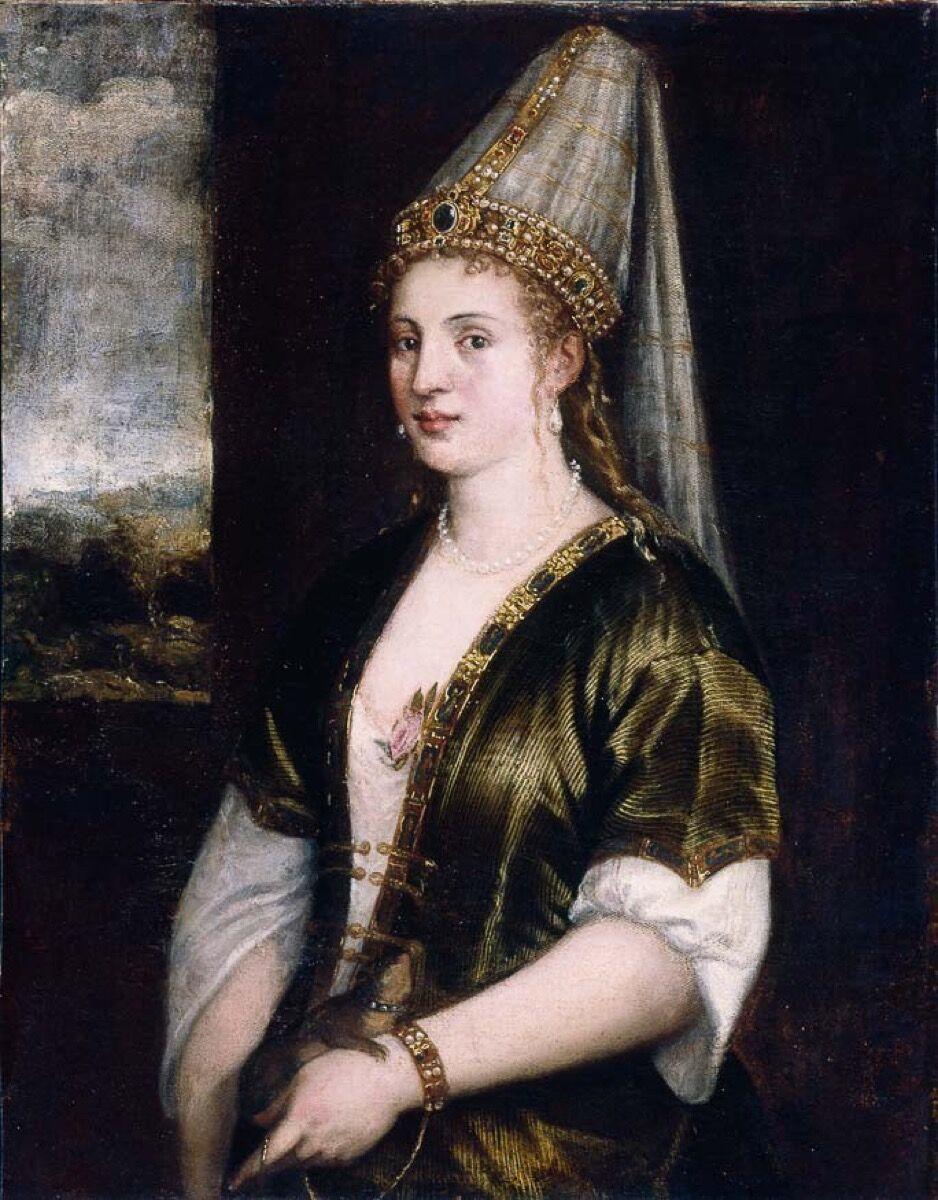 Tiziano, La Sultana Rossa, o Retrato de una mujer, c.  1500. Imagen a través de Wikimedia Commons.