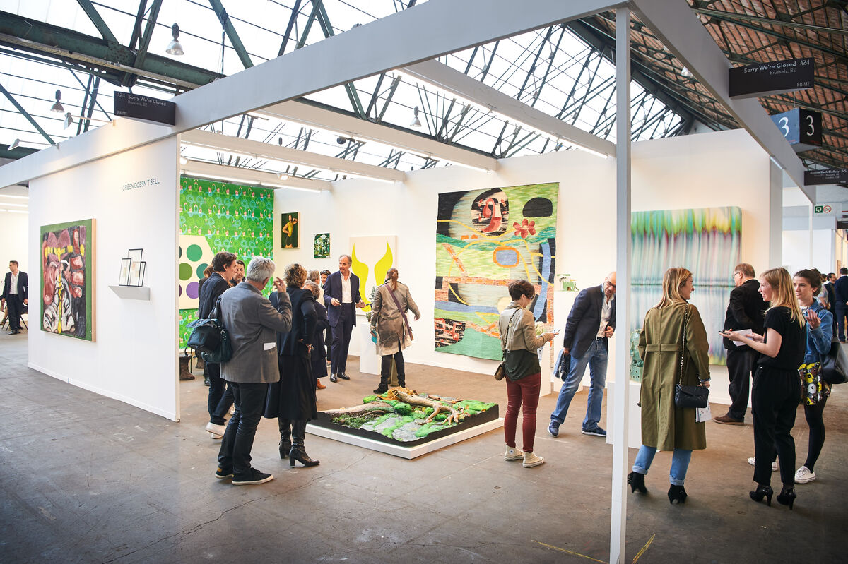 Installation view of Sorry We're Closed's booth at Art Brussels, 2016. Photo by David Plas, courtesy of Art Brussels.