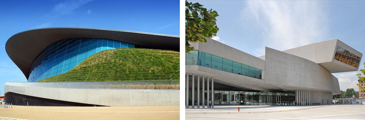 Left: Zaha Hadid, London Aquatics Centre. Photo by George Rex, via Flickr; Right: Zaha Hadid, MAXXI, Rome. Photo byJean-Pierre Dalbéra, via Flickr.
