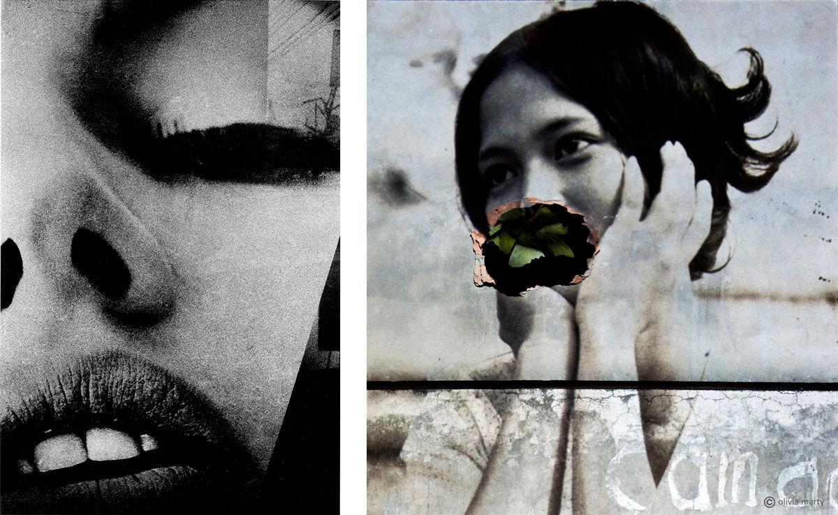 Left: Daido Moriyama,Eros or Something Not Eros,1969. Image courtesy of Daido Moriyama / Nagasawa Gallery. Right: Olivia Marty, Bến không chồng (L'Embarcadère des femmes sans mari),recOllectiOn project, 2012. Image courtesy of Olivia Marty and Visionairs Gallery Asia.