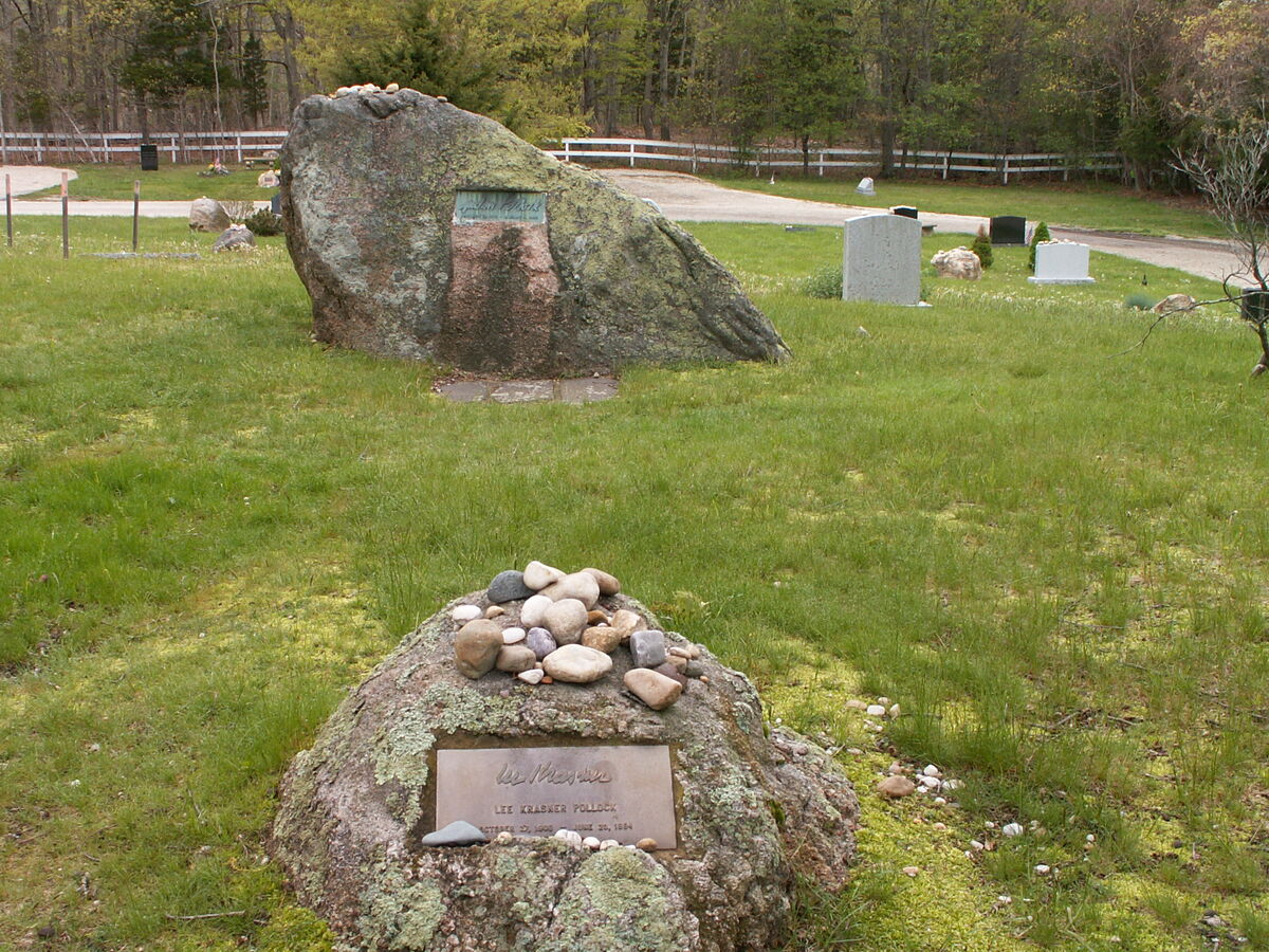 Jackson Pollock and Lee Krasner stones in Green River Cemetery in Springs, New York. Image by Americasroof via Wikimedia Commons.