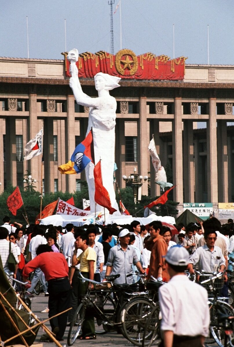 A monument in the image of the Statue of Liberty from Tiananmen Square, June 1989. Photo by Peter Charlesworth / LightRocket via Getty Images.