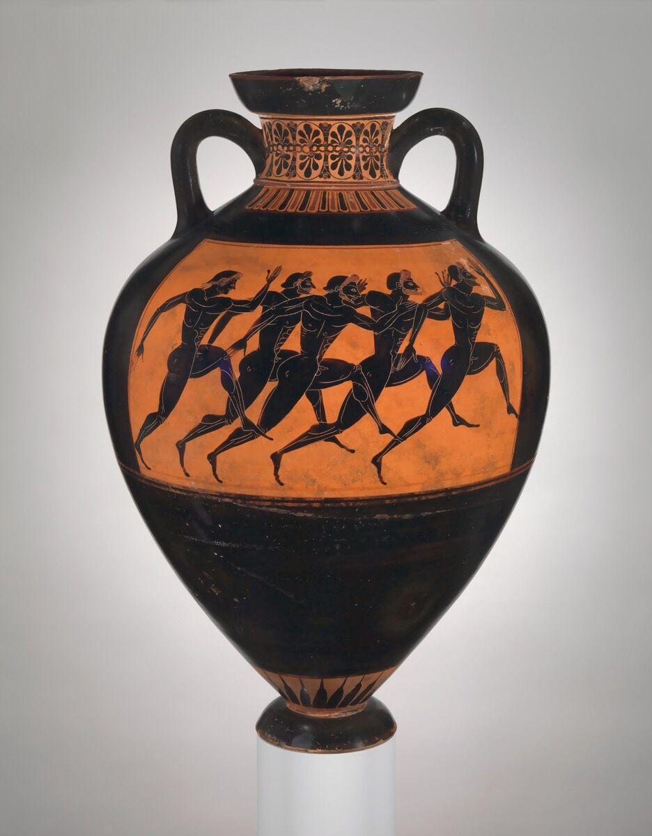 Terracotta Panathenaic prize amphora, attributed to the Eurhiletos Painter, ca. 530 B.C. Courtesy of The Metropolitan Museum of Art.