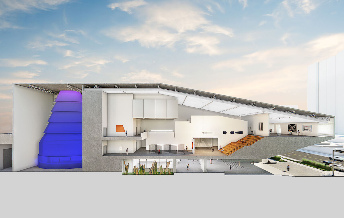 Cross-section rendering of the future home of the Berkowitz Contemporary Foundation in Miami. Three-dimensional Rendering by Azeez Bakare Studios / courtesy Rene Gonzalez Architects.