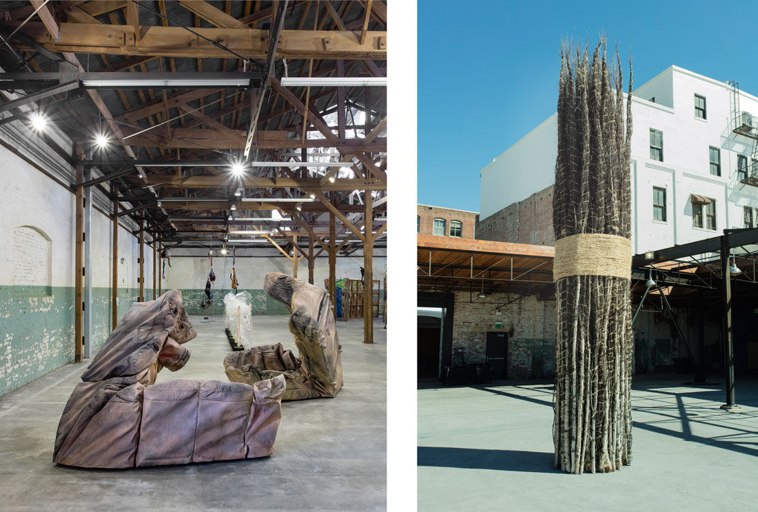 "Installation views of ""Revolution in the Making: Abstract Sculpture by Women, 1947 – 2016"" at Hauser Wirth & Schimmel, 2016. Courtesy of the artists and Hauser & Wirth. Photos: Brian Forrest. Pictured right: Jackie Winsor, 30 to 1 Bound Trees, 1971–1972 / 2016. © Jackie Winsor. Courtesy Paula Cooper Gallery, New York and Hauser & Wirth."