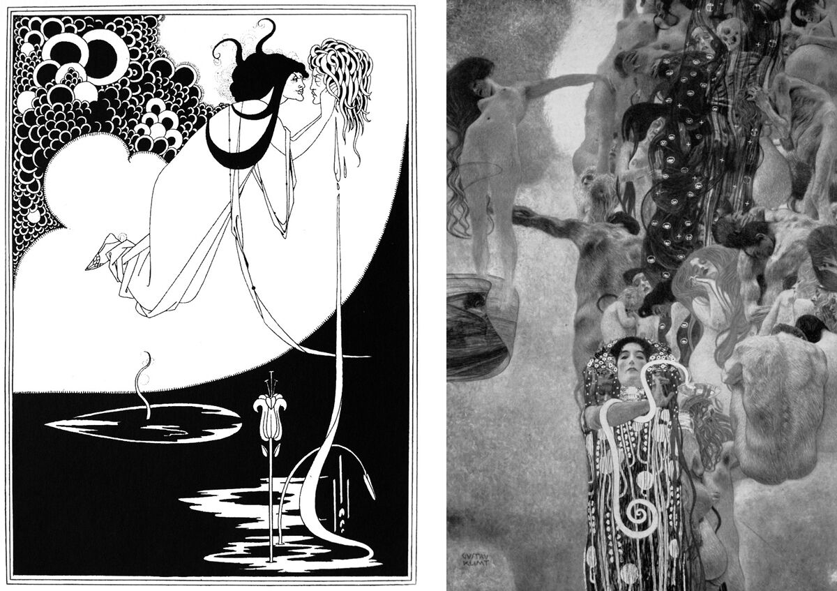 Left: Aubrey Beardsley, The Climax, 1894. Image via Wikimedia Commons; Right: Photo of the painting Medicine by Gustav Klimt, via Wikimedia Commons.
