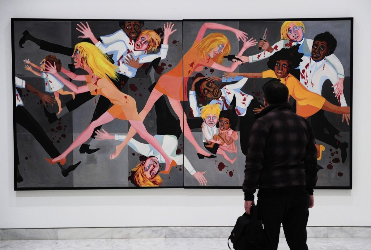 Faith Ringgold,  The American People Series #20: Die , 1967. Photo by Josep Lago/AFP/Getty Images.