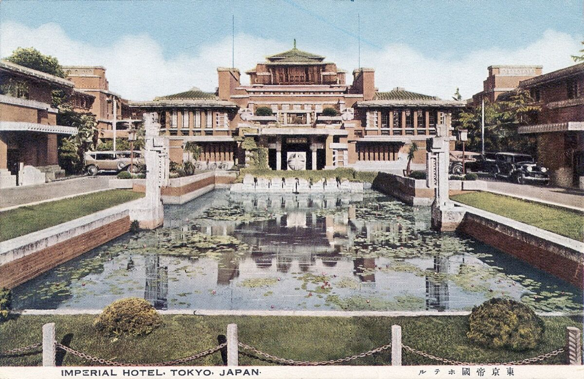Illustration of the original Tokyo Imperial Hotel, 1930s–40s. Image via Wikimedia Commons.