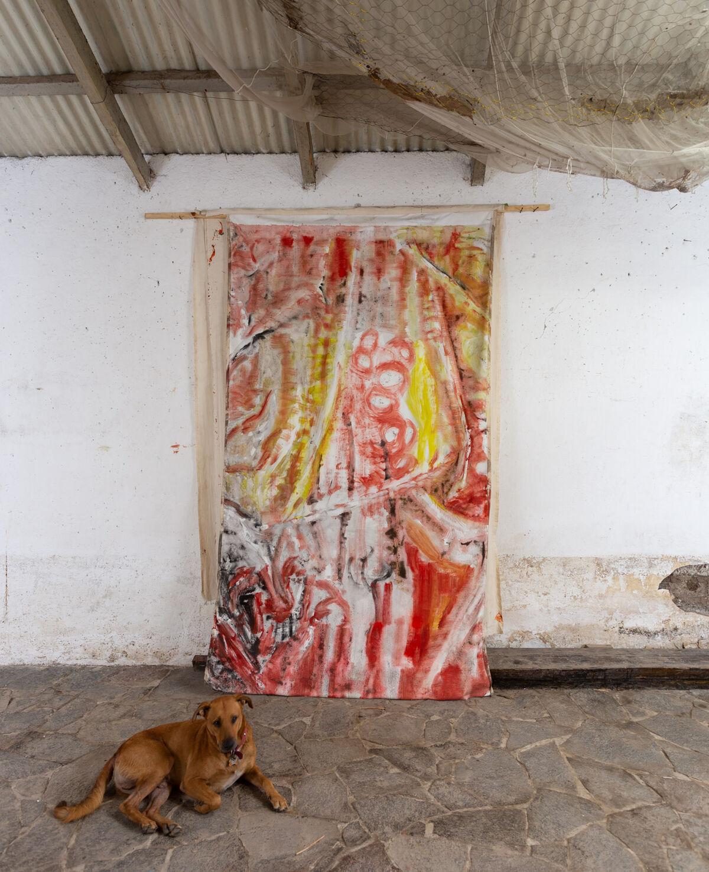 Vivian Suter, studio view, Panajachel, Guatemala, 2018. Photo by David Regen. Courtesy of the artist; Gladstone Gallery, New York and Brüssel; House of Gaga; Karma International; and Proyectos Ultravioleta.