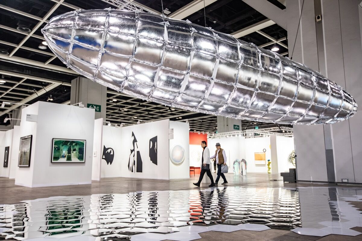Installation view of Galerie Thaddaeus Ropac's, Lehmann Maupin's, and PKM Gallery's booths at Art Basel Hong Kong, 2019. Courtesy of Art Basel.