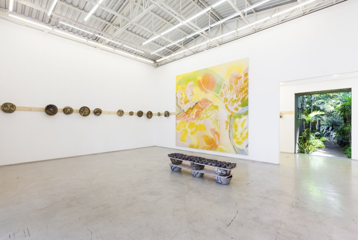 Installation view of Matthew Lutz-Kinoy's work, courtesy of Mendes Wood DM.