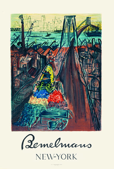Poster for Bemelmans's exhibition at the Museum of the City of New York, 1959, showing Ludwig Bemelmans, Flower Cart on Brooklyn Bridge, 1959. © 2019 Estate of Ludwig Bemelmans. Courtesy of the Estate of Ludwig Bemelmans.