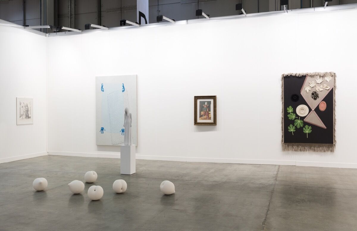Installation view of Sadie Coles HQ's booth at miart, 2017. Copyright the artists. Photo by Andrea Rossetti, courtesy of Sadie Coles HQ.