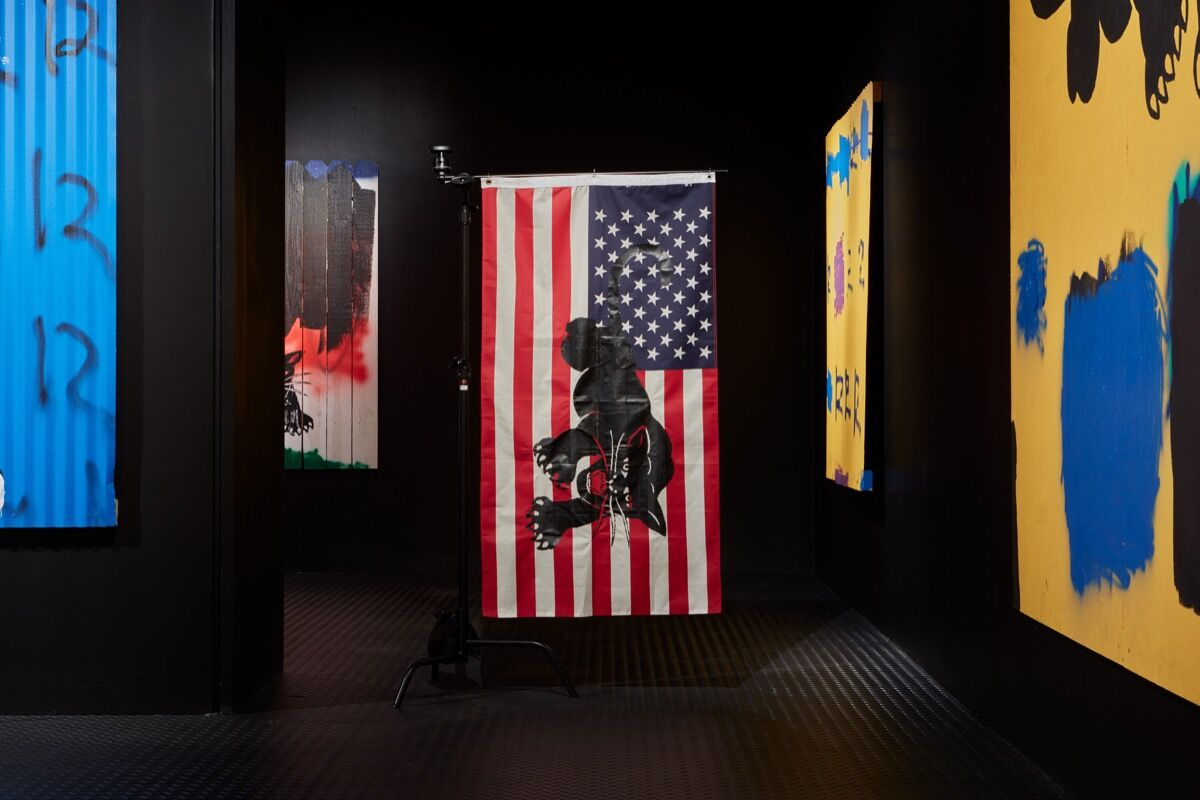 "Installation view of ""Awol Erizku: Make America Great Again."" Courtesy of Ben Brown Fine Arts, London. Photo by Tom Carter."