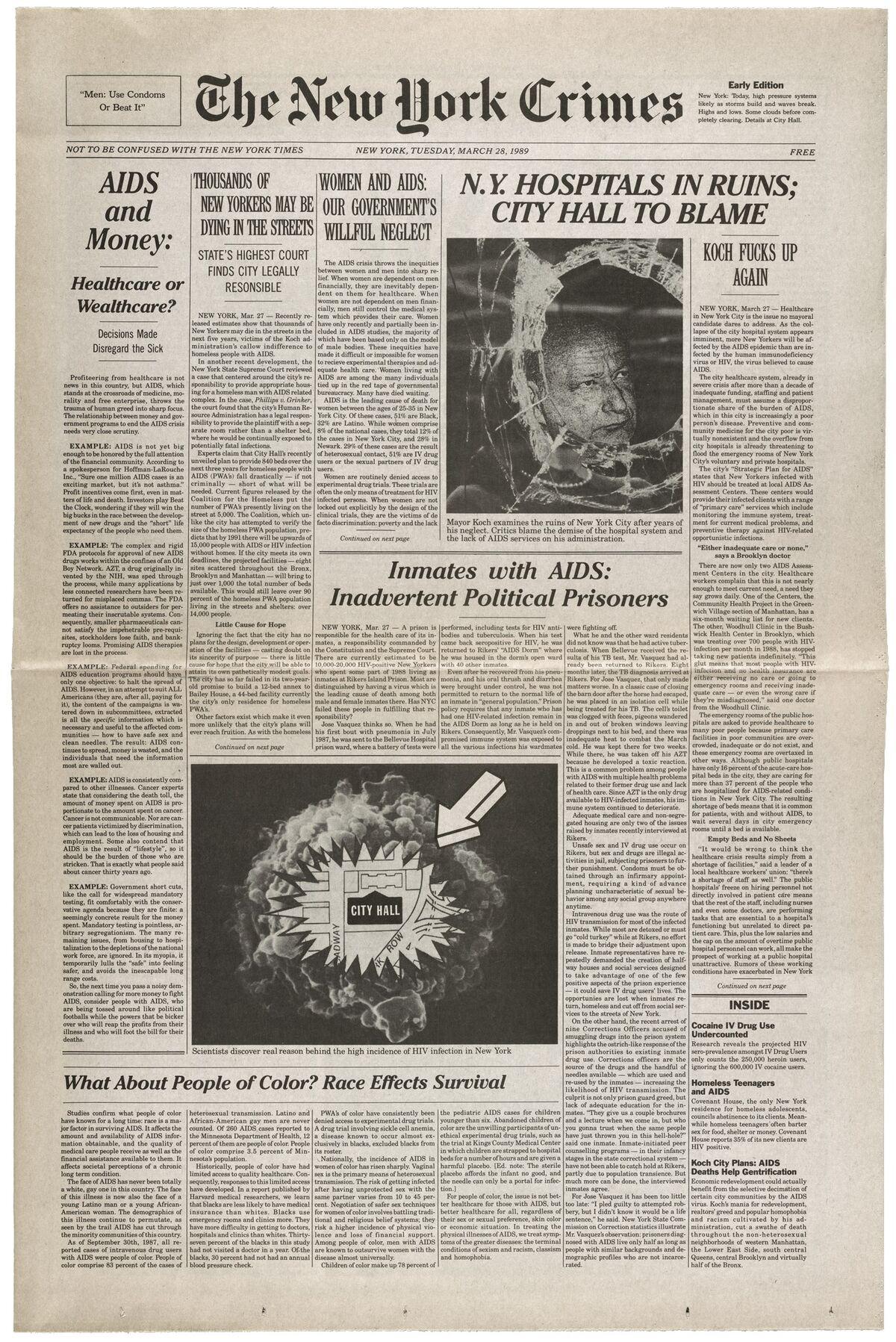 Gran Fury, New York Crimes, 1989. Courtesy of Avram Finkelstein and the Flag Art Foundation.