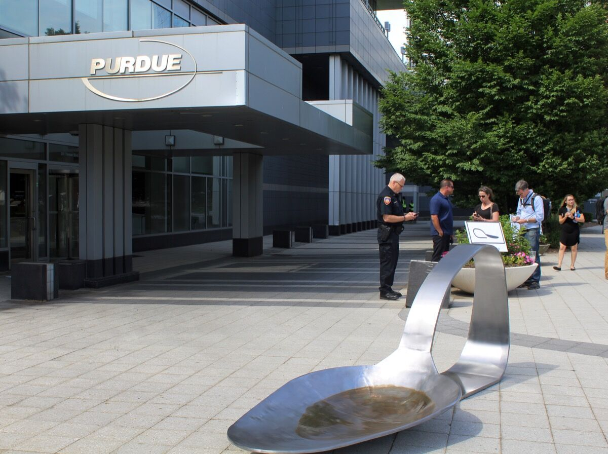 Image of Domenic Esposito's work in front of Purdue Pharma. Courtesy of Barry Lytton/Hearst Connecticut Media.