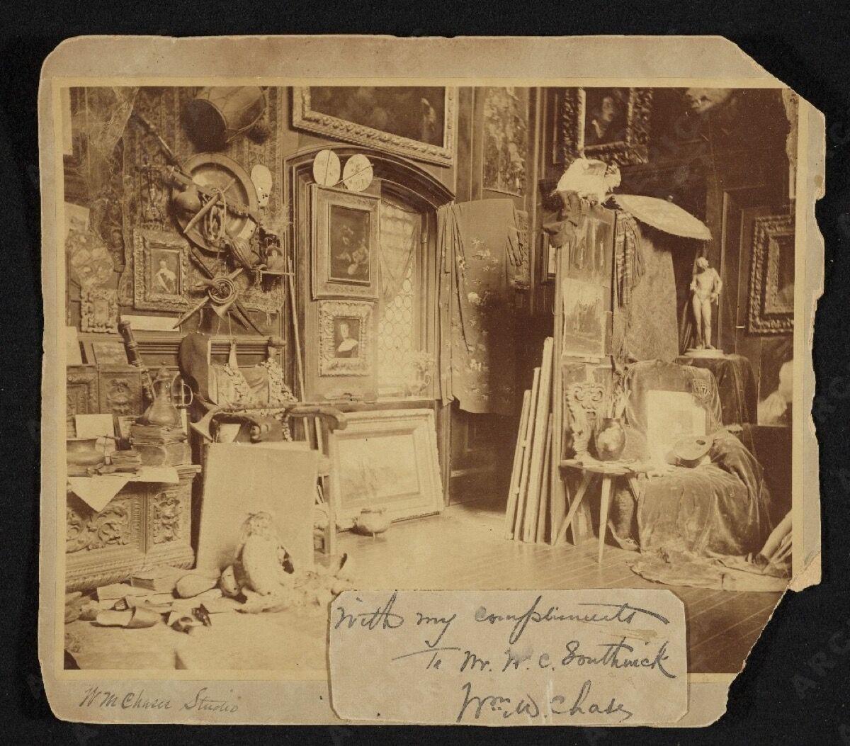 William Merritt Chase's 10th Street studio in New York, ca. 1880.Archives of American Art, Smithsonian Institution.