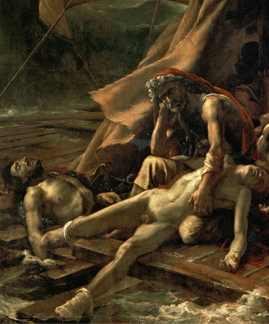Detail of Théodore Géricault, The Raft of the Medusa, (1818-19). Collection of Musée du Louvre; image via Wikimedia Commons.