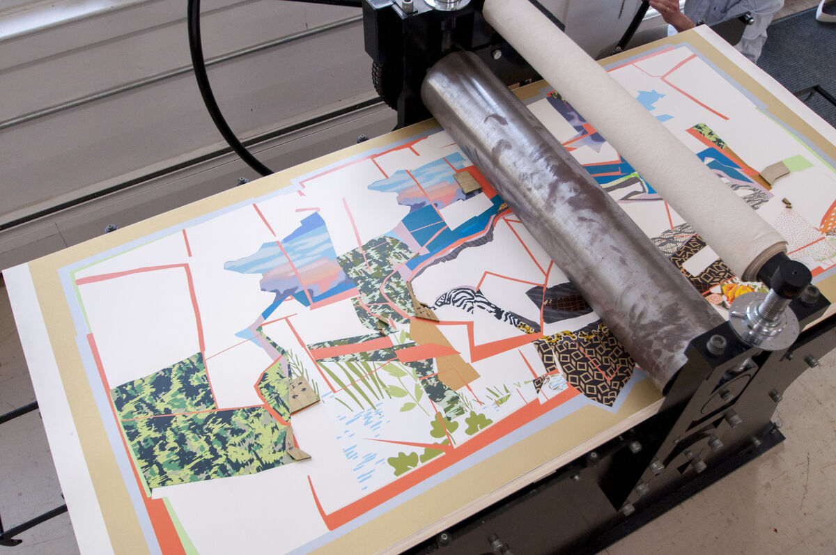 Mickalene Thomas, 'Sleep: Deaux Femmes Noires' (2013) in progress at Durham Press. Courtesy Durham Press.