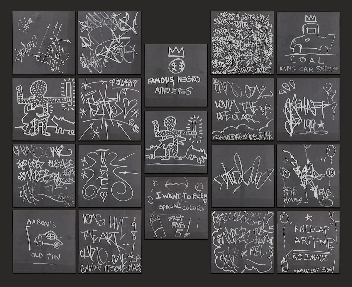 Fab Five Freddy, Keith Haring, Jean-Michel Basquiat, Futura, Rammellzee, Haze, Zephyr, Sniper, Chi-193, and Chino, Untitled, 1981. Sold for $504,000. Courtesy Sotheby's.