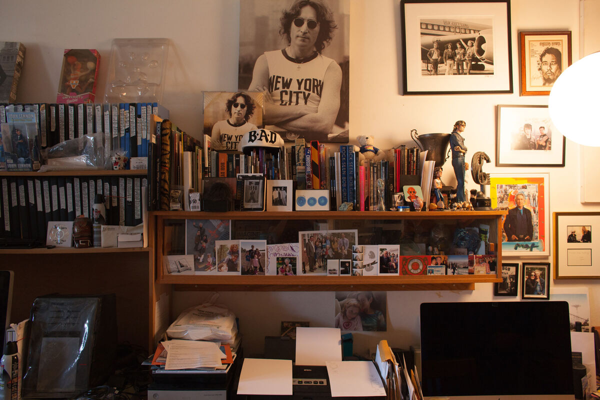 Rock photographer Bob Gruen's famous 1974 portrait of John Lennon overlooks an apartment crammed with 50 years' worth of negatives—an archive his wife, Elizabeth Gregory-Gruen, is painstakingly working to organize. Photo by Frankie Alduino.