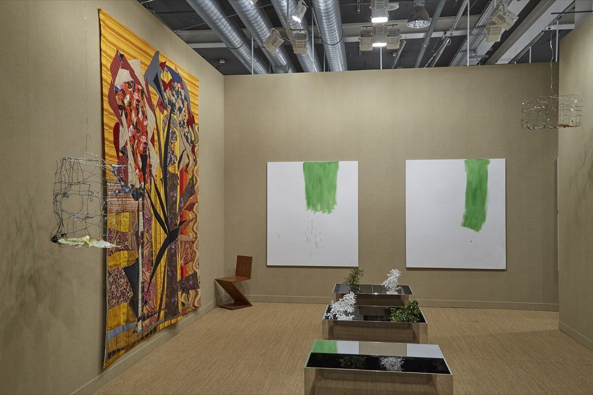 Installation view of neugerriemschneider's booth at Art Basel, 2016. Photo by Benjamin Westoby for Artsy.