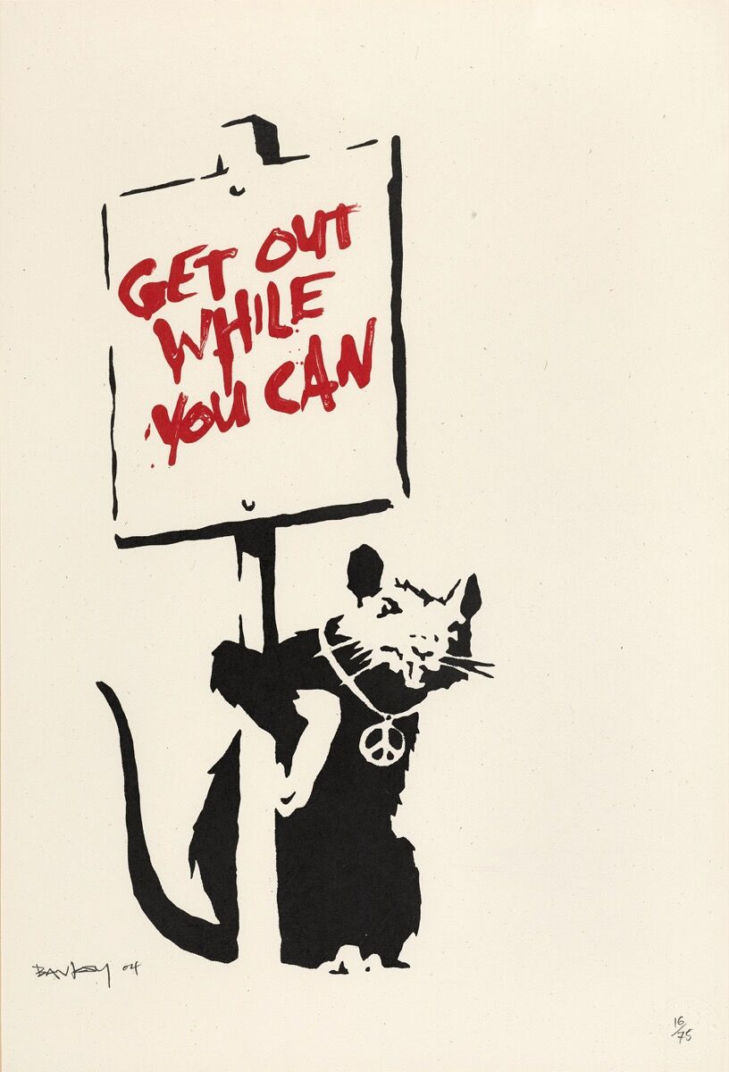 Banksy, Get Out While You Can, 2004. Courtesy of Sotheby's.