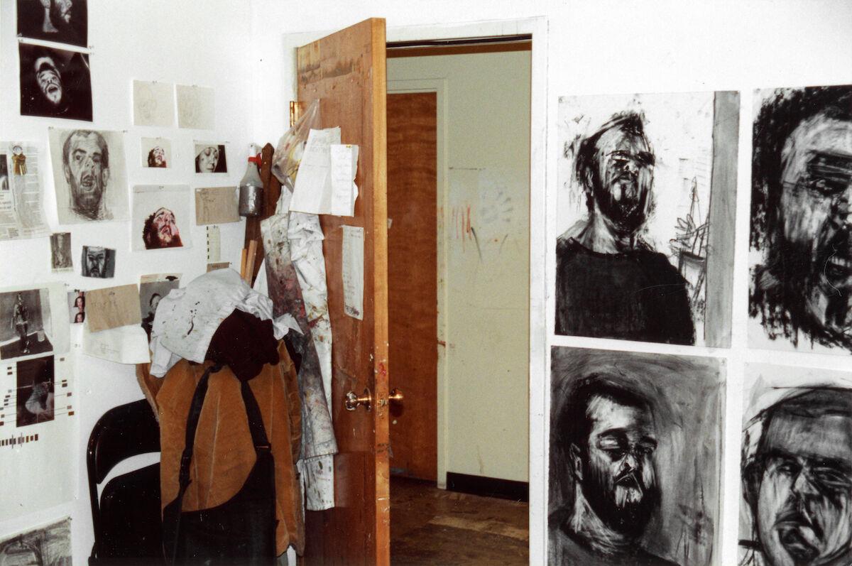Jonas Wood's  graduate school studio, 2001. University of Washington, Seattle, WA. Courtesy of Wood Kusaka Studios.