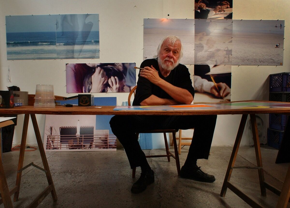 John Baldessari in his Santa Monica studio, 2001.  Photo by Richard Hartog/Los Angeles Times via Getty Images.