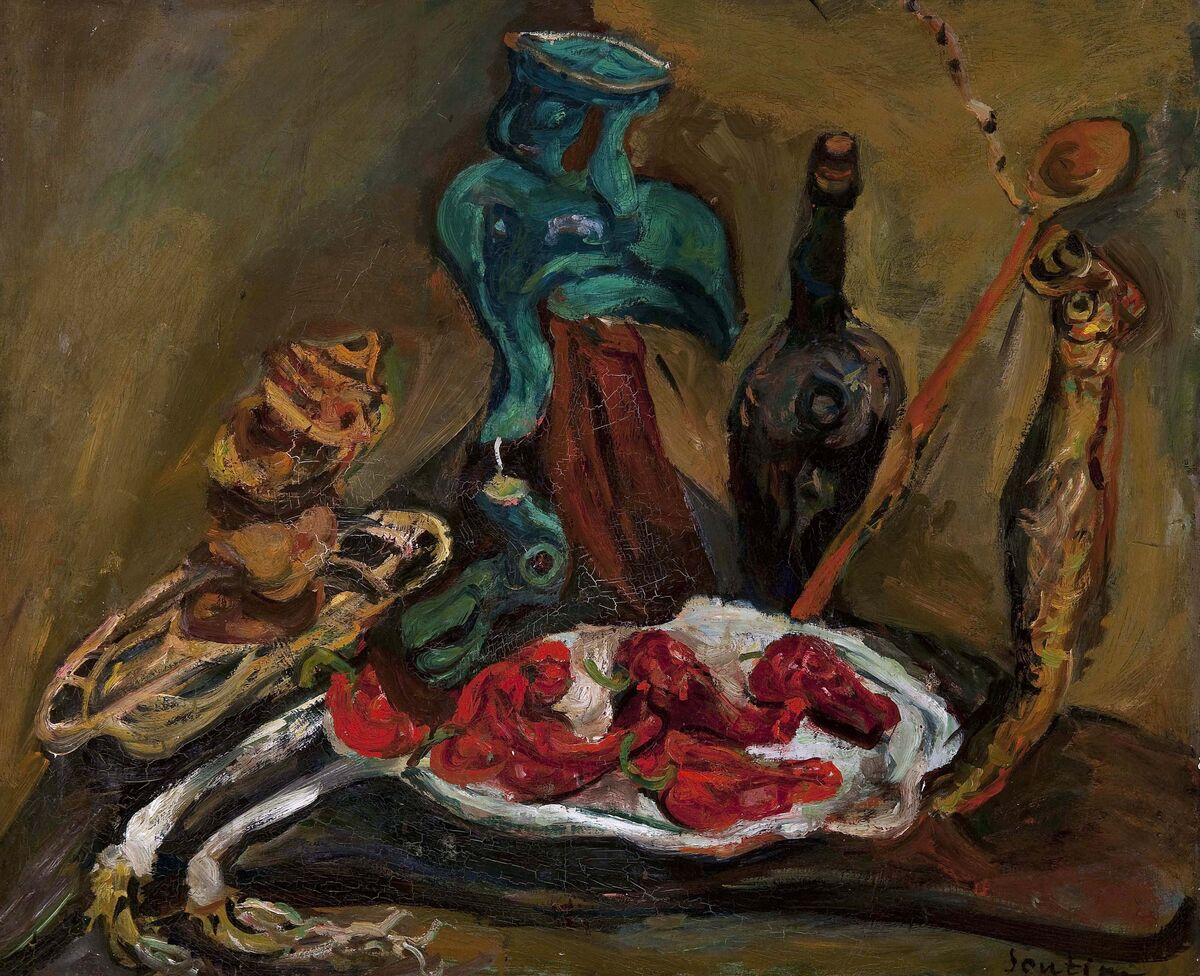 Chaim Soutine, Fish, Peppers, Onions, c. 1919. Courtesy of the Barnes Collection and the Jewish Museum.