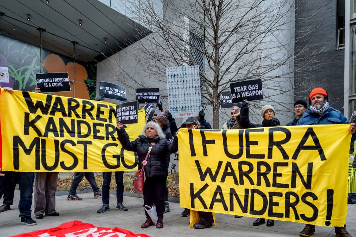 Activists took over the lobby at the Whitney Museum of American Art to protest and demand the removal Warren Kanders. Photo by Erik McGregor/Pacific Press/LightRocket via Getty Images.