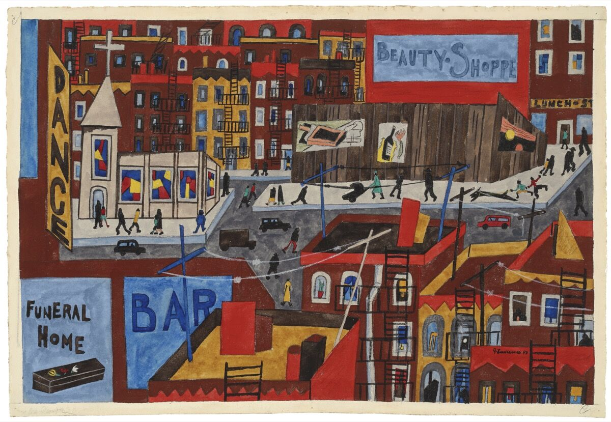 Jacob Lawrence, This Is Harlem, 1943. Photo by Cathy Carver. Artwork © The Jacob and Gwendolyn Knight Lawrence Foundation, Seattle / Artists Rights Society (ARS), New York. Courtesy of the Jewish Museum.