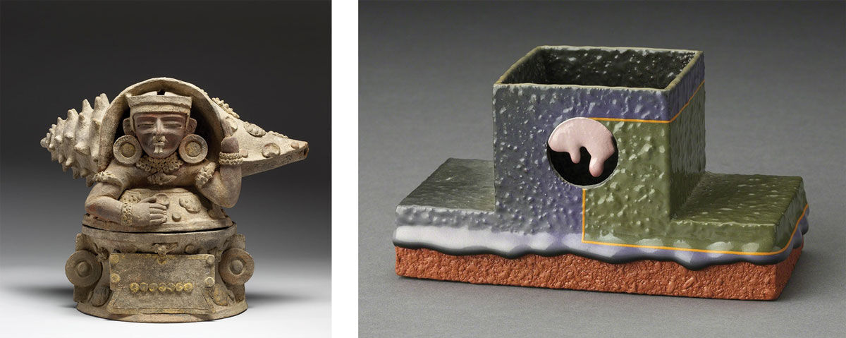Left: Maya (artist), Teotihuacan ritual object (350-500). Image courtesy of the Walters Art Museum. Right: Ron Nagle, Incense Burner (1990). Image courtesy of Ferrin Contemporary, North Adams.