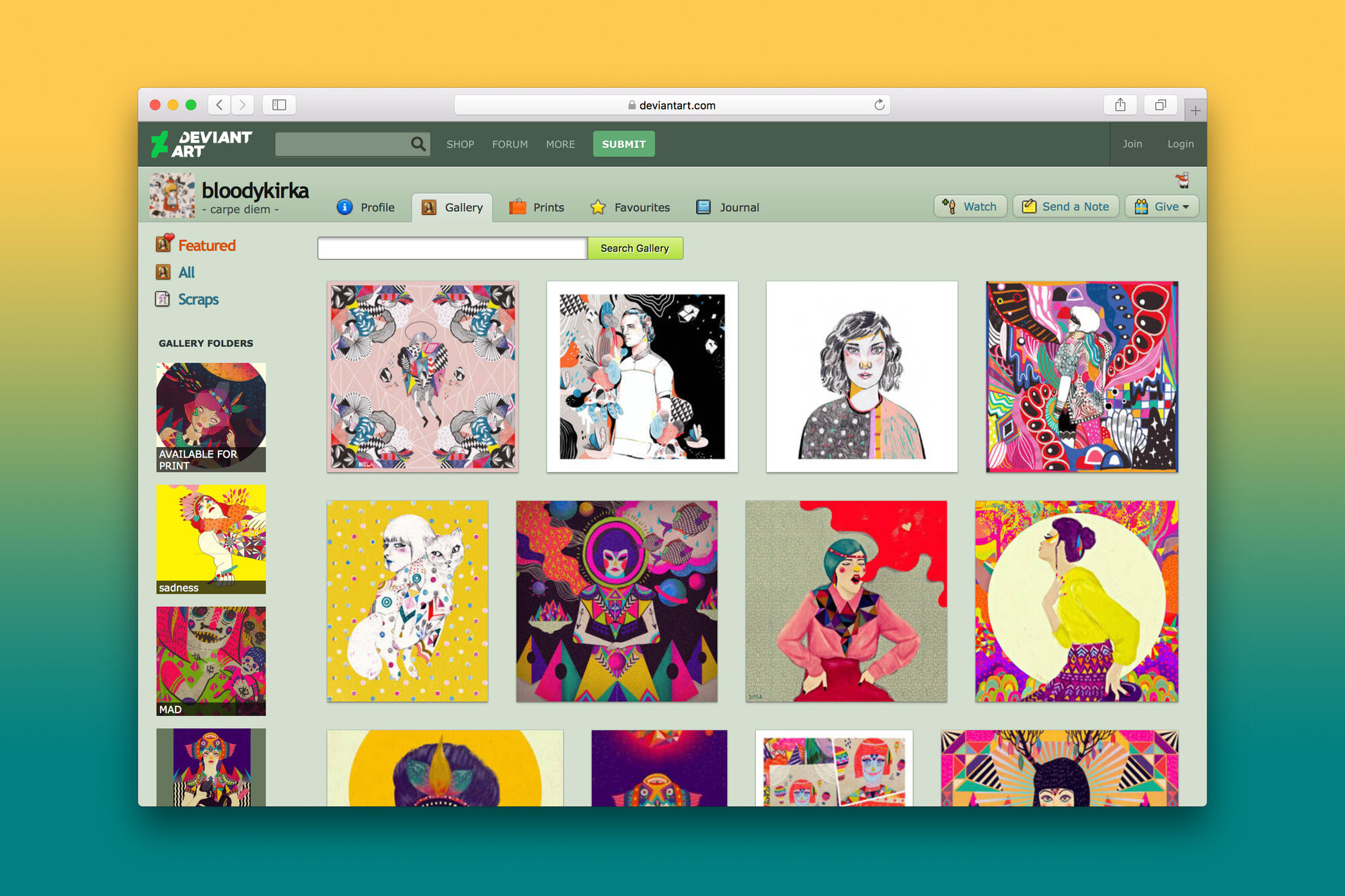 Screenshot of the DeviantArt interface, 2019. Used with permission from DeviantArt.