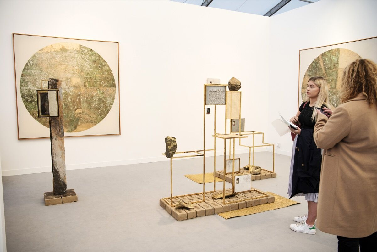 Installation view of Revolver Galería's booth at Frieze London, 2019. Photo by Linda Nylind. Courtesy of Linda Nylind / Frieze.