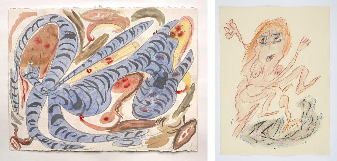 Left: Thornton Dial, (no title), (1991).Photo byStephen Pitkin/Pitkin Studio. Courtesy of Marianne Boesky. Right: Thornton Dial, Jumping Over Trouble (2008). Courtesy of Marianne Boesky.