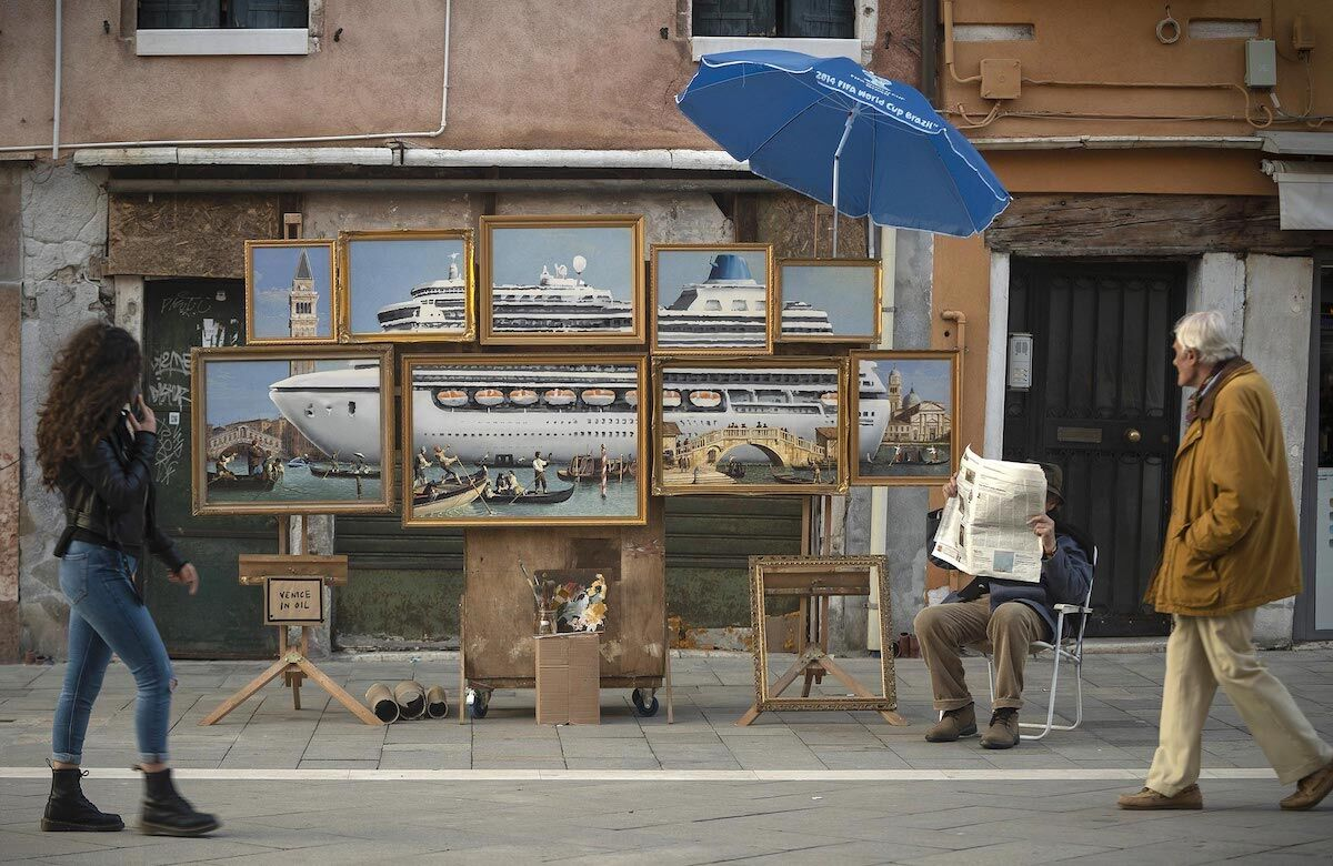 Banksy's stall in Venice. Photo via Banksy.co.uk.