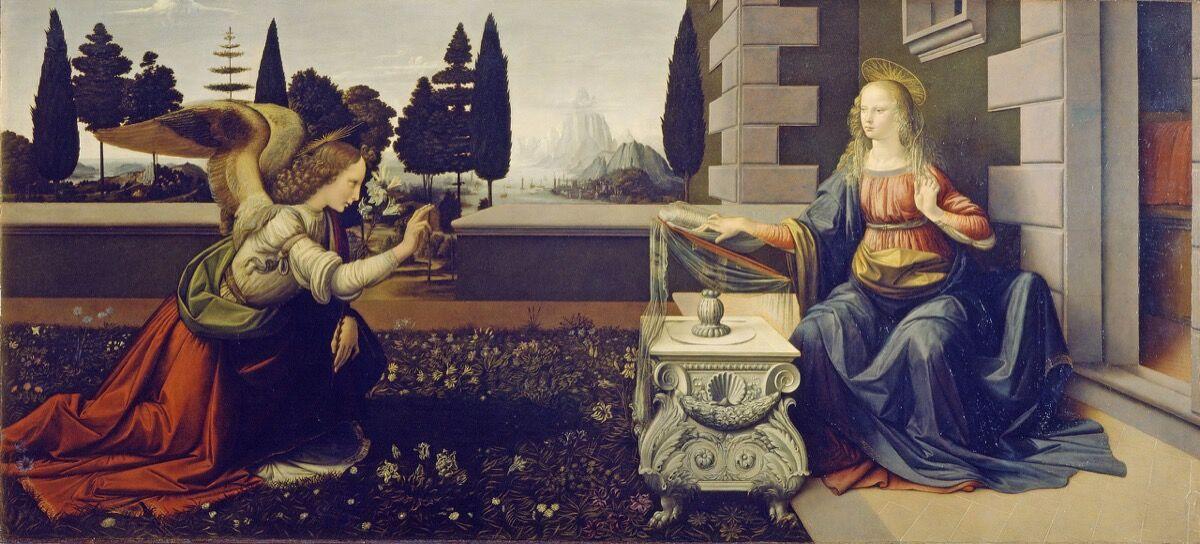 Leonardo da Vinci, Annunciation, 1472. Uffizi Gallery, Florence. Photo via Wikimedia Commons.