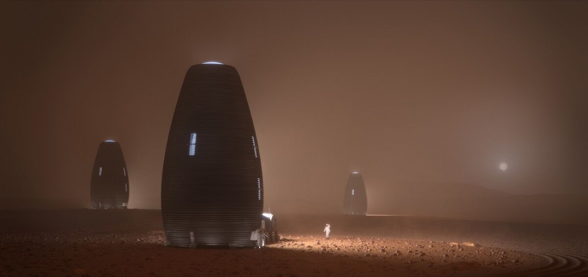 Rendering image of 3D-Printed Mars Habitat. Courtesy of AI Space factory.
