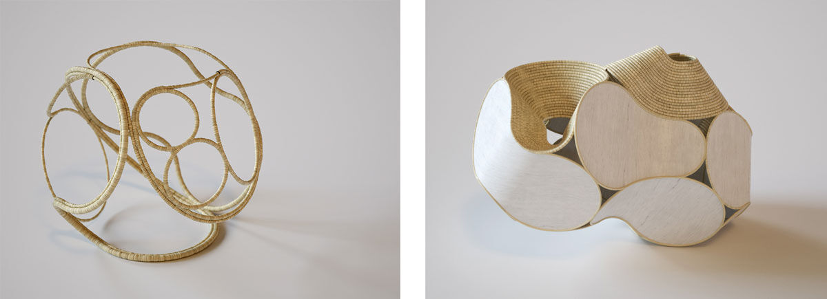 Left: Grass Coil 03, 2016. Right: Wood Basket 03, 2016. Images courtesy of Aranda/Lasch and Terrol Dew Johnson.