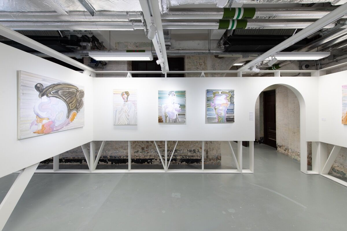 Etsu Egami, installation view in Whitestone Gallery's booth at Unscheduled, 2020. © HKAGA. Photo by Felix SC Wong. Courtesy of Hong Kong Art Gallery Association.