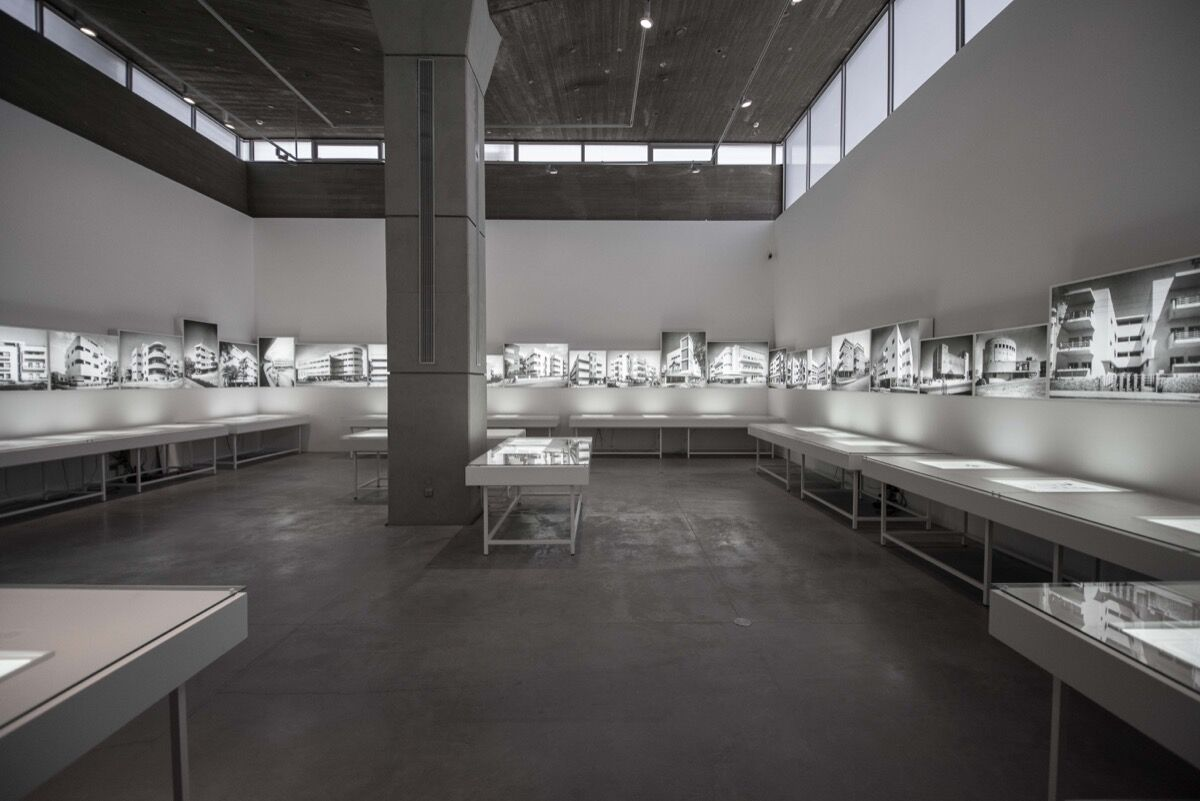 """Installation view of """"Social Construction: Modern Architecture in British Mandate Palestine."""" Photo by Or Kaplan, courtesy of the Israel Museum."""