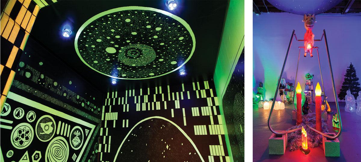 "Left: Installation view of ""FAENA ART presents Return to Tomorrow by Beatriz Monteavaro at Casa Claridge Hotel."" Photo byIvan Belaustegui. Right: Installation view of ""Beatriz Monteavaro: Nochebuena"" at Locust Projects. Courtesy of Primary."