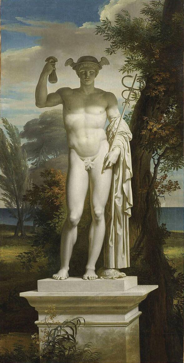 Charles Meynier, Statue of Mercury in a Landscape. Musée de la Révolution française. Photo via Wikimedia Commons.